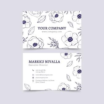Plantilla de tarjeta de visita con diseño floral
