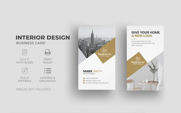 Plantilla de tarjeta de visita - diseño interior vertical