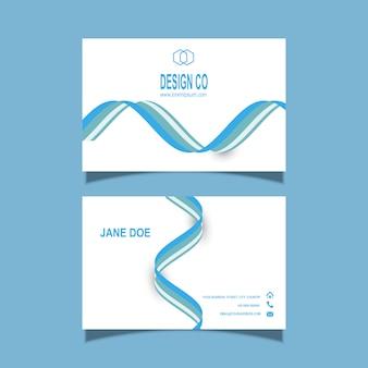 Plantilla de tarjeta de visita con diseño de líneas fluidas