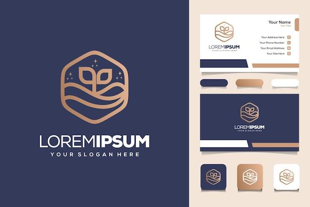 Plantilla de tarjeta de visita de diseño de logotipo de monograma de playa y mar