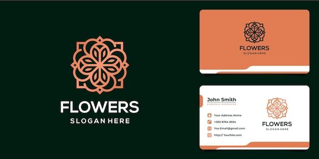 Plantilla de tarjeta de visita y diseño de logotipo monoline de lujo de flores