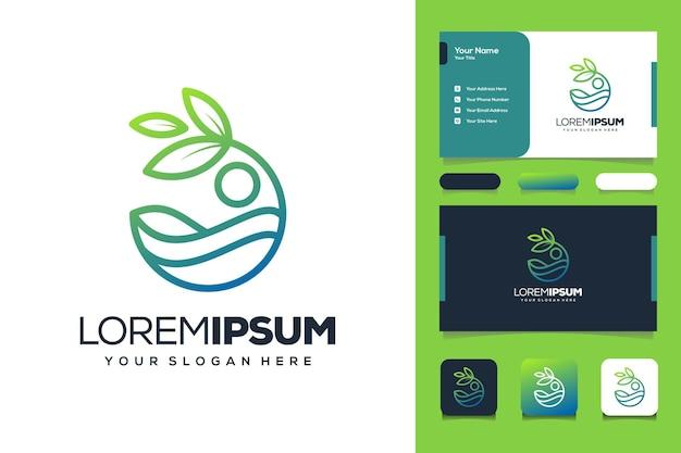 Plantilla de tarjeta de visita de diseño de logotipo de playa y mar