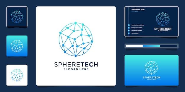 Plantilla de tarjeta de visita de diseño de logotipo de tecnología de conexión