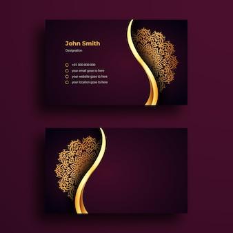 Plantilla de tarjeta de visita con diseño de lujo arabesque mandala