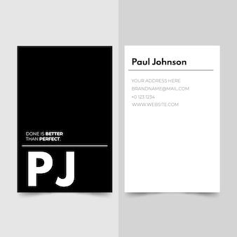 Plantilla de tarjeta de visita con diseño monocromo