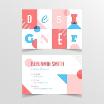 Plantilla de tarjeta de visita divertida del diseñador gráfico