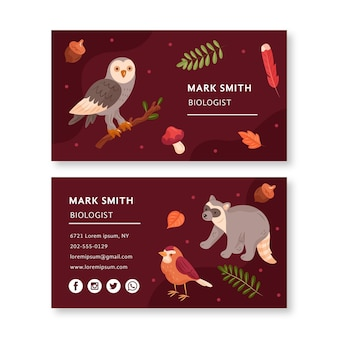Plantilla de tarjeta de visita de doble cara con animales del bosque