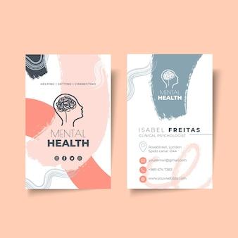Plantilla de tarjeta de visita de doble cara de psicología