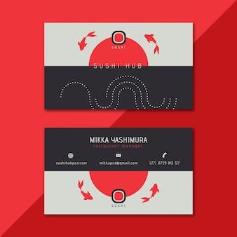 Plantilla de tarjeta de visita de doble cara de sushi hub