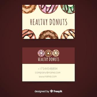 Plantilla de tarjeta de visita de donuts en acuarela