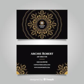 Plantilla de tarjeta de visita dorada con dibujos a mano