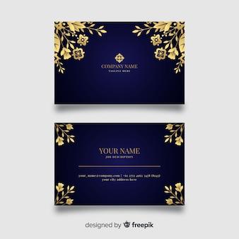 Plantilla de tarjeta de visita dorada floral