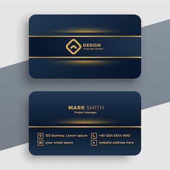 Plantilla de tarjeta de visita dorada de lujo oscuro