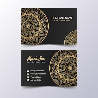 Plantilla de tarjeta de visita dorada premium