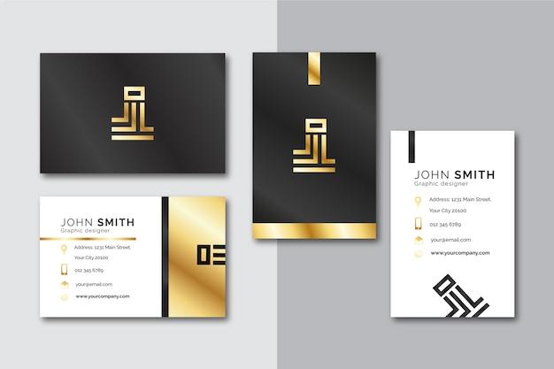 Plantilla de tarjeta de visita dorada