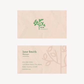 Plantilla de tarjeta de visita ecológica con logotipo de arte lineal en tono tierra