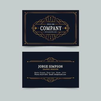 Plantilla de tarjeta de visita elegante de diseño dorado