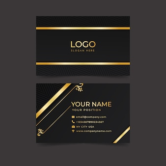 Plantilla de tarjeta de visita elegante dorada y azul