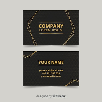 Plantilla de tarjeta de visita elegante y dorada