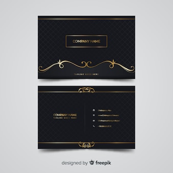 Plantilla de tarjeta de visita elegante dorada