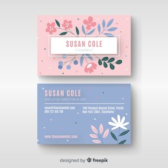 Plantilla de tarjeta de visita elegante floral