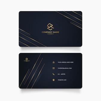 Plantilla de tarjeta de visita elegante con formas doradas
