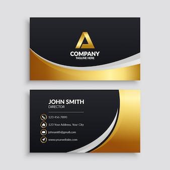 Plantilla de tarjeta de visita elegante negra y dorada