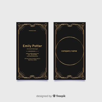Plantilla de tarjeta de visita elegante vertical negra