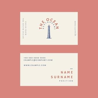 Plantilla de tarjeta de visita estética para restaurante, remezclada de obras de arte de dominio público