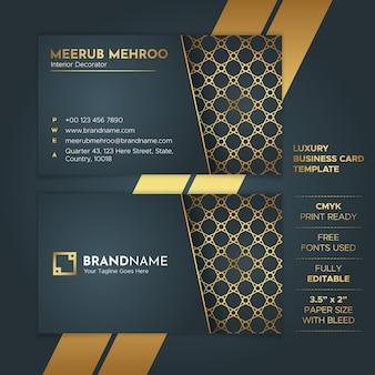 Plantilla de tarjeta de visita en estilo elegante de lujo