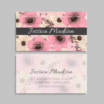 Plantilla de tarjeta de visita de estilo floral
