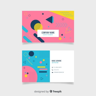 Plantilla de tarjeta de visita con estilo memphis