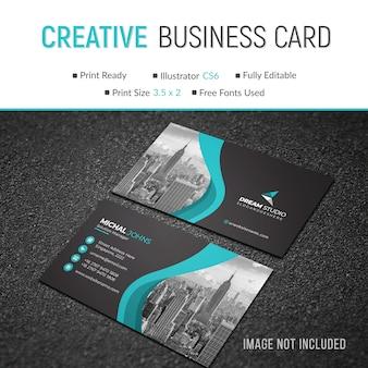 Plantilla de tarjeta de visita con estilo ondulado