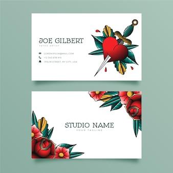 Plantilla de tarjeta de visita de estudio de tatuajes