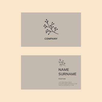 Plantilla de tarjeta de visita en flatlay en tono gris