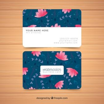 Plantilla de tarjeta de visita floral acuarela