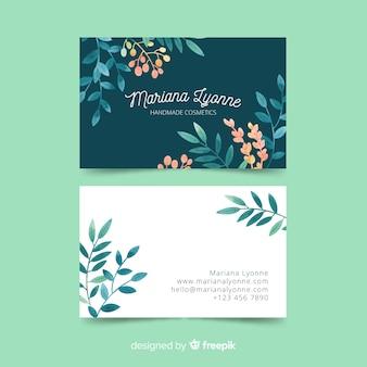 Plantilla de tarjeta de visita floral en acuarela
