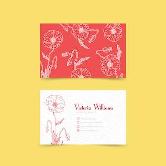 Plantilla de tarjeta de visita floral dibujada a mano realista