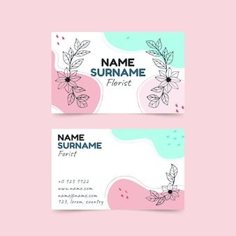 Plantilla de tarjeta de visita floral dibujada a mano