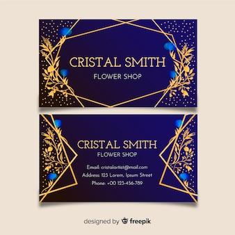 Plantilla tarjeta de visita floral dorada