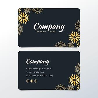 Plantilla de tarjeta de visita floral dorada