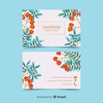 Plantilla de tarjeta de visita floral con líneas doradas