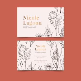 Plantilla de tarjeta de visita floral realista dibujada a mano