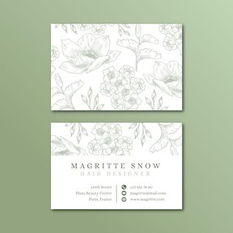 Plantilla de tarjeta de visita floral realista dibujado a mano