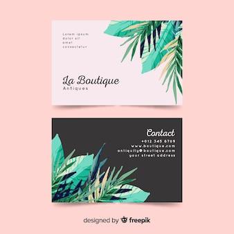Plantilla de tarjeta de visita de flores de acuarela