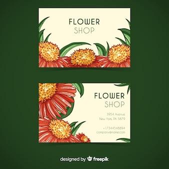 Plantilla de tarjeta de visita de flores en acuarela