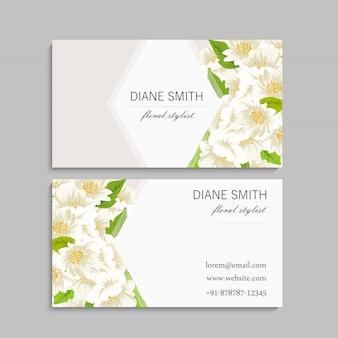 Plantilla de tarjeta de visita con flores de colores