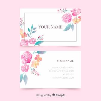Plantilla de tarjeta de visita con flores