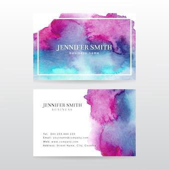 Plantilla de tarjeta de visita con fondo abstracto acuarela pintura