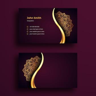 Plantilla de tarjeta de visita con fondo de lujo arabesque mandala